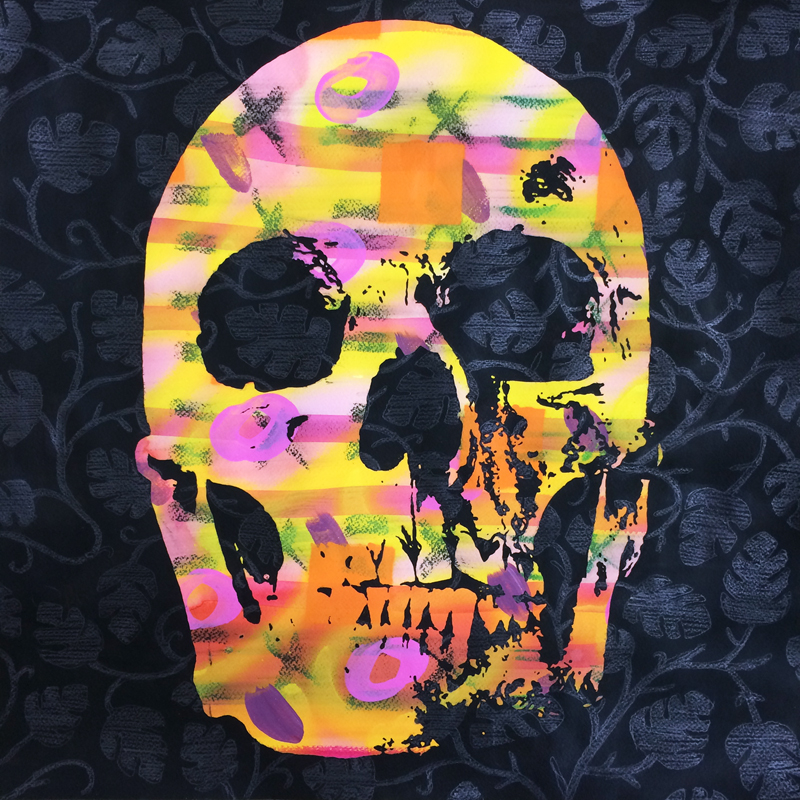 """skull & leaves""  - painting"