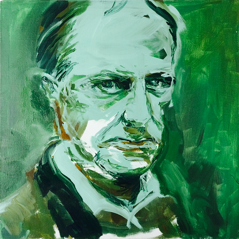 """Le gouffre (baudelaire portrait"" acrylic on canvas 50x50cm / january 2016"