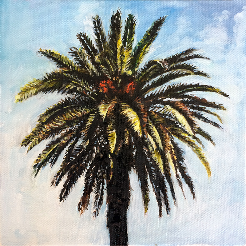 """Palmtree"" oil painting on canvas 20x20cm / August 2016"