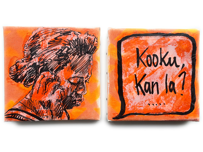 """Kooku kan la"" - painting / mixed medias on canvas - 2x15x15cm / september 2016 -"