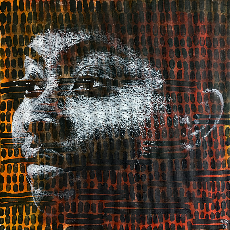 """Ma-tern 4 "" acrylic painting on canvas 30x30cm march 2017 - private Collection Dakar"