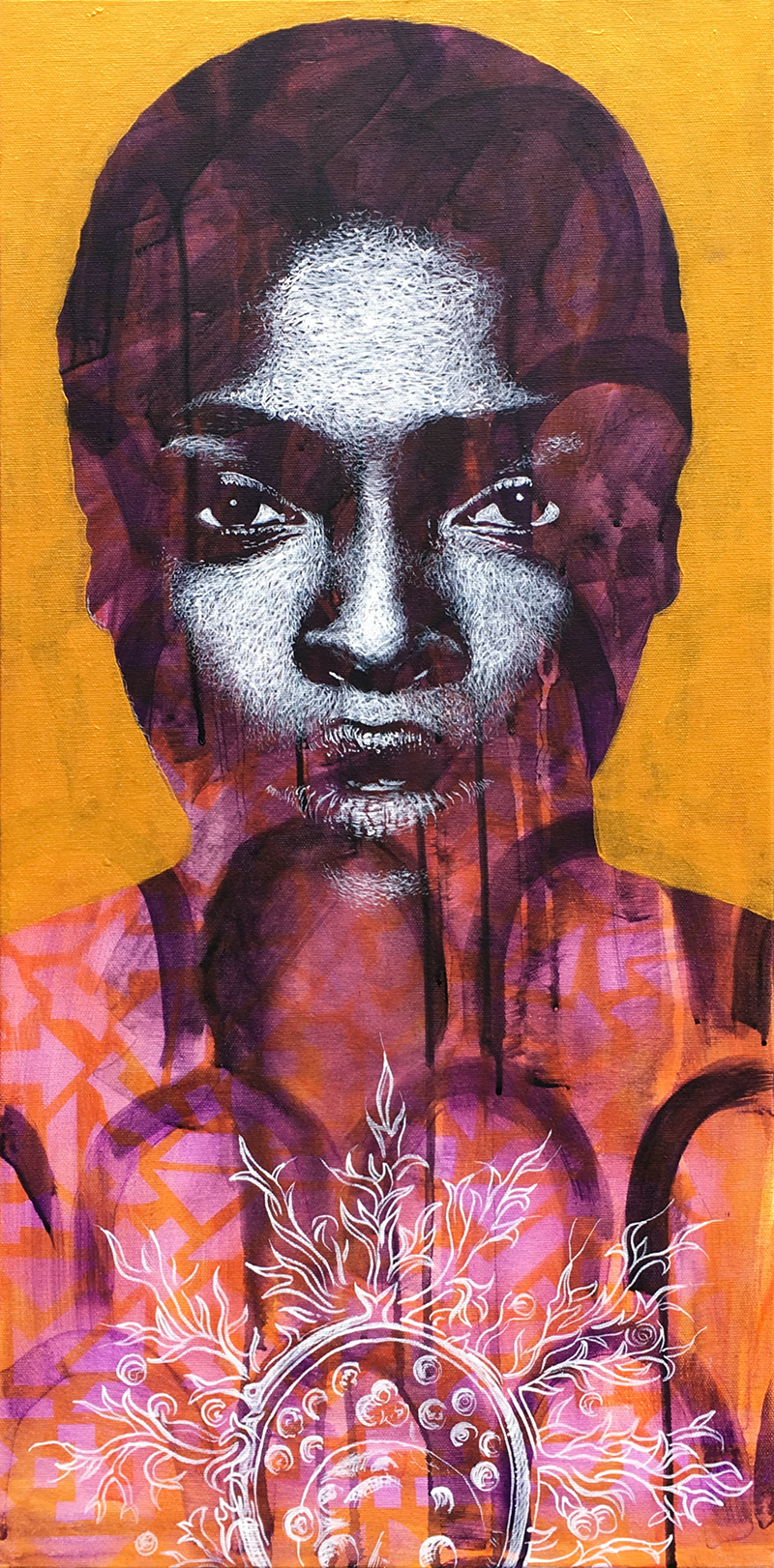 """Capsule"" acrylic & spray painting on canvas 40x80cm / may 2018"