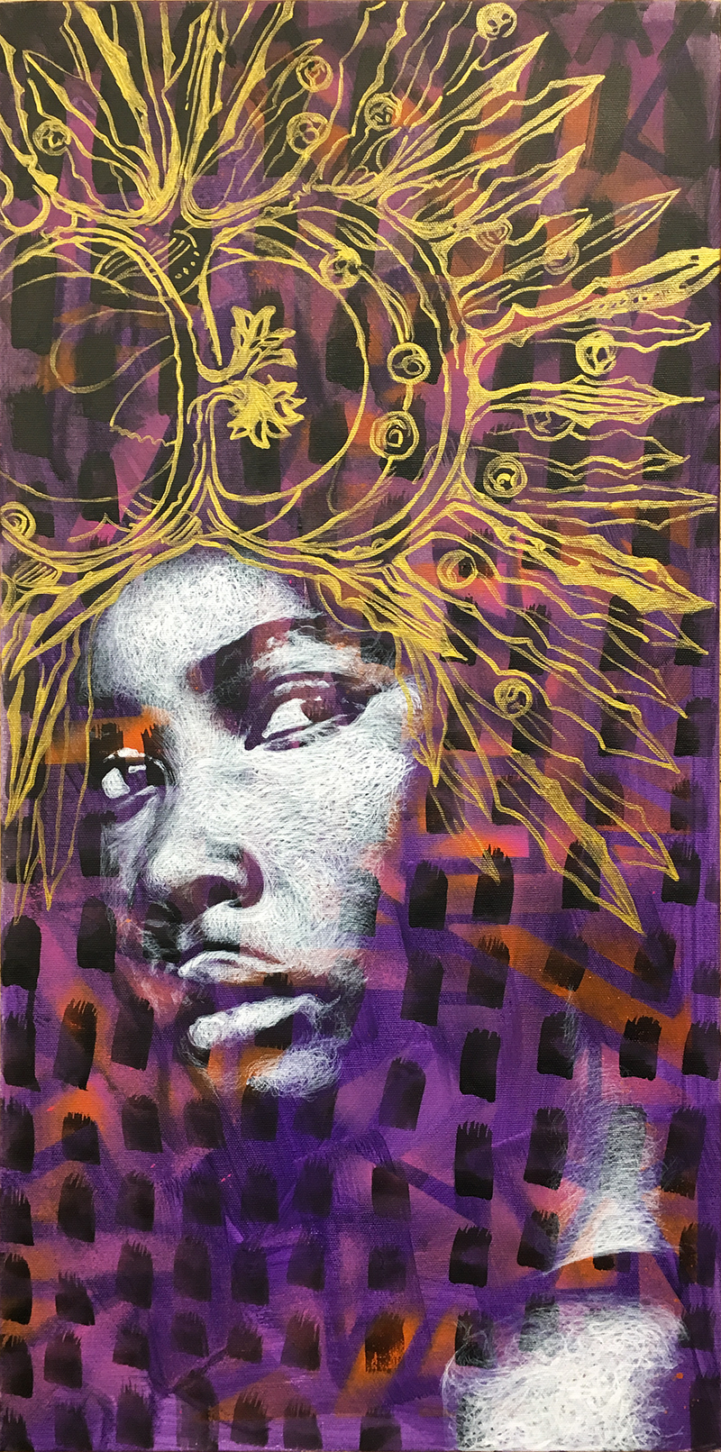 """Mardi Gras"" acrylic & spray painting on canvas 40x80cm / june 2018"