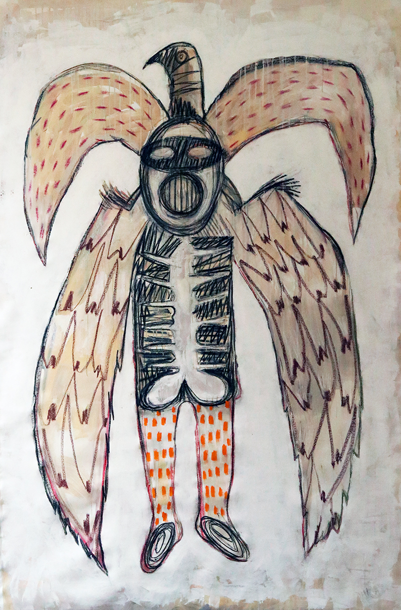 """Birdman"" acrylic painting, gesso & charcoal on canvas 240x130cm / june 2020"