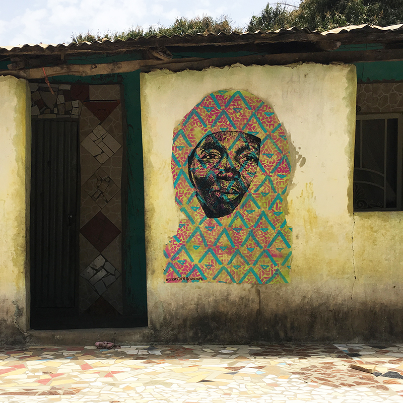 Street Art : painting / spray & acrylic on paper - Tanji, Gambia april 2018