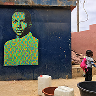 Street Art : painting / spray & acrylic on paper - Ouakam, Dakar Sénégal may 2018